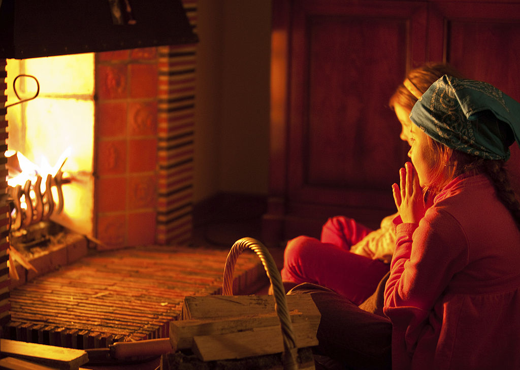 Girls at the fireplace